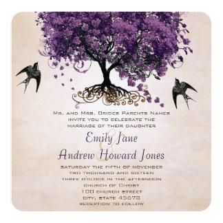 Simply Peachy Purple Romantic Heart Leaf Tree 13 Cm X 13 Cm Square Invitation Card