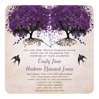 Simply Peachy Purple Vintage Heart Leaf Tree Card
