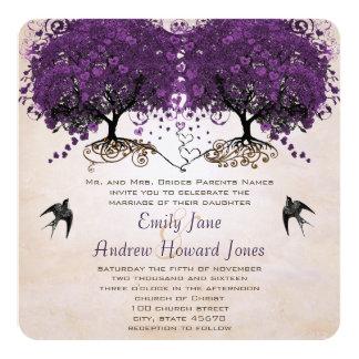 Simply Peachy Purple Vintage Heart Leaf Tree 13 Cm X 13 Cm Square Invitation Card