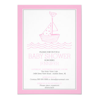 Simply Perfect Nautical Sailboat Girls Baby Shower Card