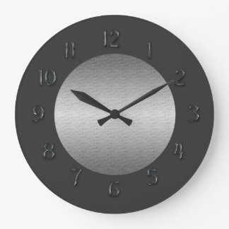 Simply Pewter Faux Metal Numerals Round Wallclocks