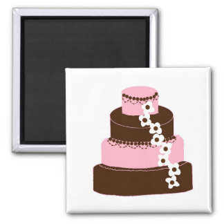 Simply Pink and Chocolate Cake Refrigerator Magnets
