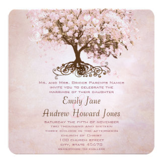 Simply Pink Heart Leaf Tree Love Bird Wedding 13 Cm X 13 Cm Square Invitation Card