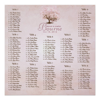 Simply Pink Heart Leaf Tree Love Bird Wedding Poster