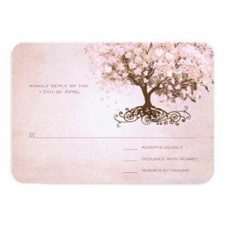 Simply Pink Heart Leaf Tree Wedding RSVP 9 Cm X 13 Cm Invitation Card