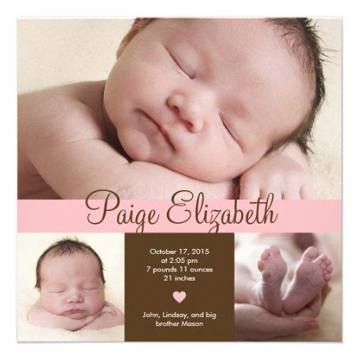 Simply Precious Birth Announcement - Pink Personalized Invite