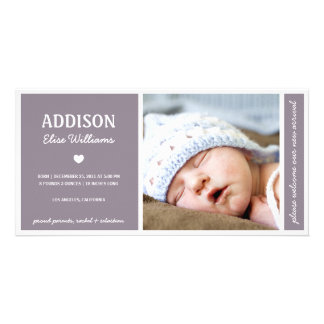 SIMPLY PURE | BABY GIRL BIRTH ANNOUNCEMENT PICTURE CARD