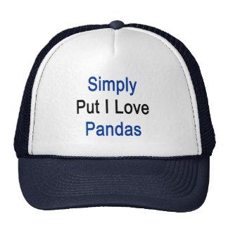 Simply Put I Love Pandas Mesh Hats