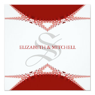 Simply Red Lace Monogram Wedding Invitation