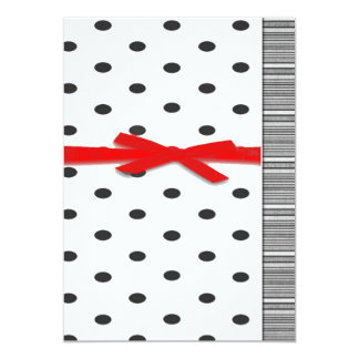 Simply Red Ribbon Black and Red Card 13 Cm X 18 Cm Invitation Card