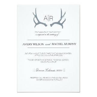 Simply Rustic & Elegant | Modern Custom Initials 13 Cm X 18 Cm Invitation Card