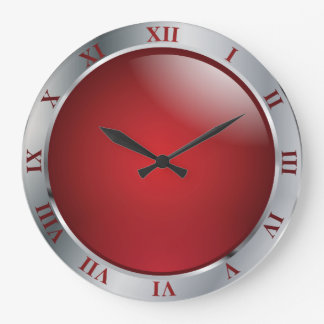 Simply Silver and Red Large Clock