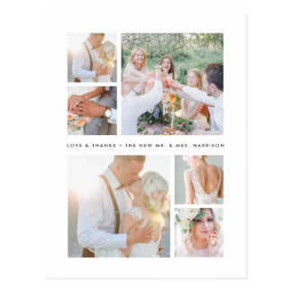 Simply Stated | Wedding Photo Collage Thank You Postcard