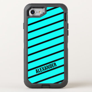 Simply Stripes turquoise + your backgr. & Name OtterBox Defender iPhone 7 Case