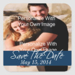 Simply Stunning Deep Navy Save The Date Seals Square Sticker
