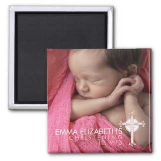 Simply Sweet Cross Christening Photo Keepsake Magnet