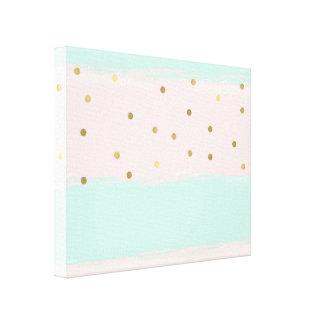 Simply Sweet Peach Mint Gold Stripes Confetti Canvas Print