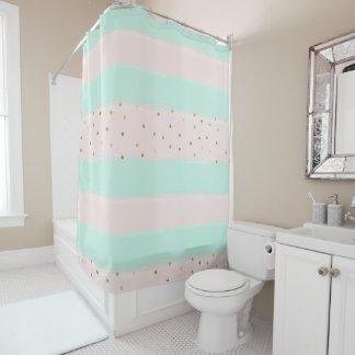 Simply Sweet Peach Mint Gold Stripes Confetti Shower Curtain