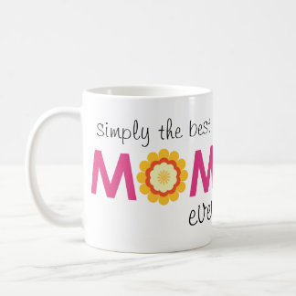 Simply the best mum ever pink flower photo heart coffee mugs