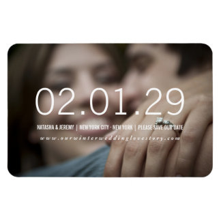 Simply Timeless Modern Simple Photo Save The Date Rectangular Photo Magnet