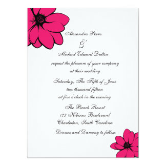 Simply Tropical Flowers On Recycled 17 Cm X 22 Cm Invitation Card