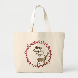 Simply Watercolor Woodland Wreath Large Tote Bag