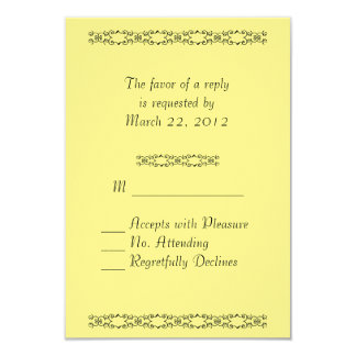 "Simply Yellow Wedding RSVP 3.5"" X 5"" Invitation Card"