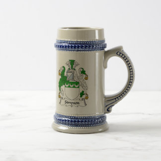Simpson Coat of Arms Stein - Family Crest Beer Steins