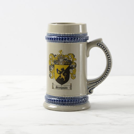 Simpson Coat of Arms Stein Mugs