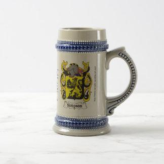 Simpson Family Crest Stein Beer Steins