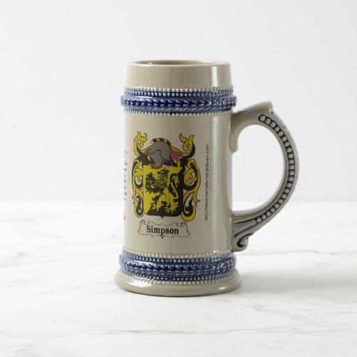 Simpson Family Crest Stein Mugs