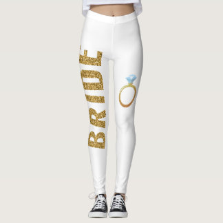 Simulated Glitter BRIDE leggings with Ring