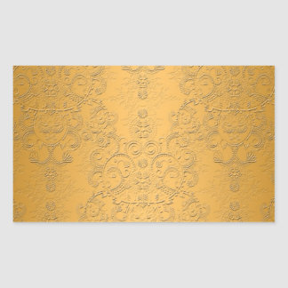 Simulated Gold with Embossed Ornate Design Rectangular Sticker