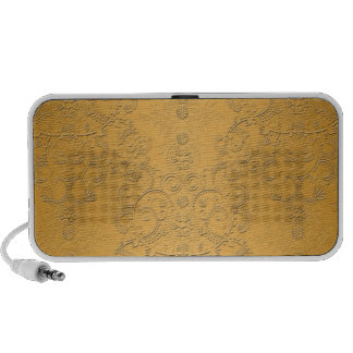 Simulated Gold with Embossed Ornate Design Mp3 Speakers
