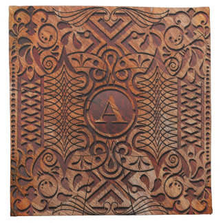 Simulated Wood Carving Monogram A-Z ID446 Napkin