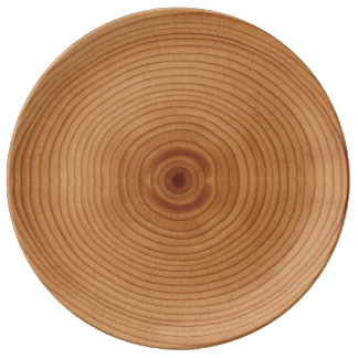 Simulated wood rings plate