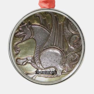 Simurgh Silver-Colored Round Decoration