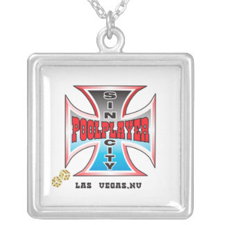 Sin City Pool Player Silver Plated Necklace