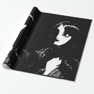Sin City Style Woman - On Black Background Wrapping Paper