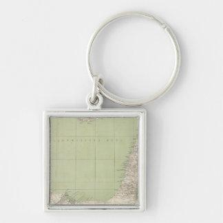 Sinai, Egypt, Syria Atlas Map Silver-Colored Square Key Ring