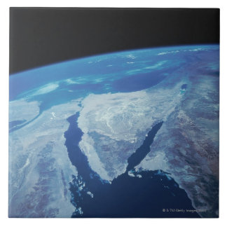 Sinai Peninsula from Space Large Square Tile