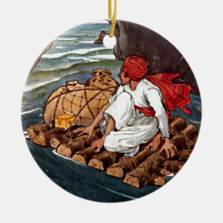 Sinbad the Sailor Shipwreck Treasure Illustration Christmas Ornament