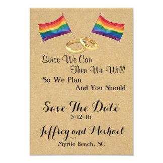 Since We Can:  Gay Wedding Save The Date Cards 9 Cm X 13 Cm Invitation Card