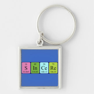 Sincere periodic table name keyring Silver-Colored square key ring