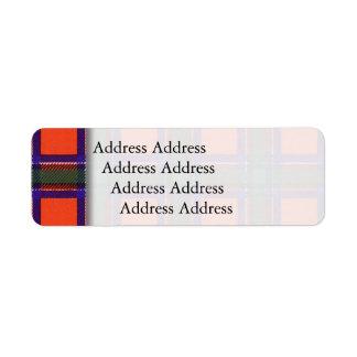 Sinclair clan Plaid Scottish tartan Return Address Label