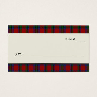 Sinclair Tartan Plaid Wedding Escort Place Card