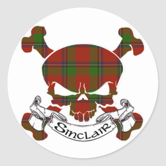 Sinclair Tartan Skull Round Sticker