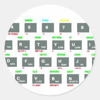 Sinclair ZX Spectrum Keyboard Keys Round Sticker