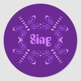 Sing, dragonflies in purple & pink classic round sticker