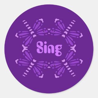 Sing, dragonflies in purple & pink round sticker